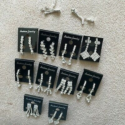 Joblot of 12 pairs Mixed colour Flower Diamante stud Earrings NEW Wholesale