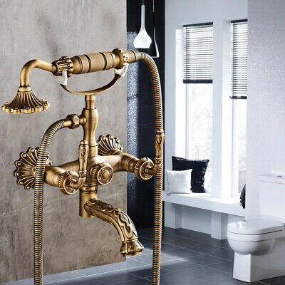 Bath Tub Bathroom Vintage Faucet 2 handles Antique Brass Hand Shower Spout Spray