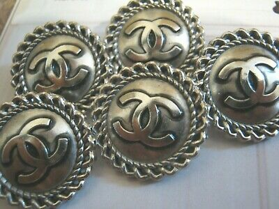 Chanel cc buttons SILVER  20mm lot of 5 good condition
