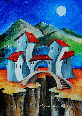 Original ACEO ART oil painting EXPRESSIVE moon night city mountain landscape