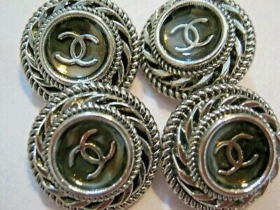 Chanel cc buttons silver metal  20mm lot of 4 good condition
