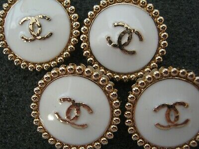 Chanel  cc buttons WHITE GOLD  18mm lot of 4 good condition