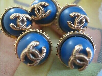 💋💋💋💋💋 Chanel 5 small buttons  13mm lot of 5 blue gold CC