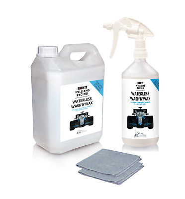 Rokit Williams Waterless wash and wax car cleaning set 1L + 2.5L plus 2 cloths