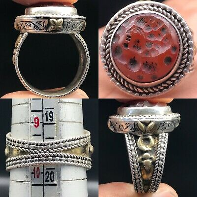 Silver Antique Agate Beautiful Emperor Face Seal Stunning Intaglio Ring