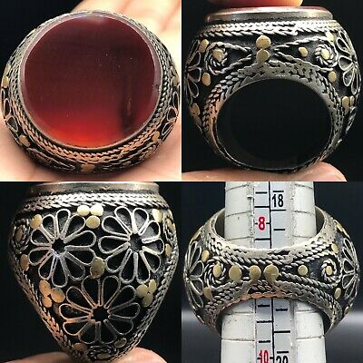 Afghan Silver Antique Agate Beautiful Stunning Lovely Ring