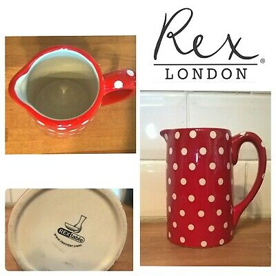 POLKA Dot Red Rextable Ceramic Milk Jug (Matching teapot available)