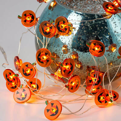 20 LED Halloween Pumpkin Orange Mini String Lights W/ Timer Battery Operated,...