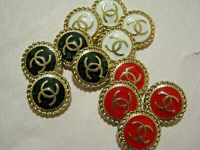 Chanel 12  cc logo mixed buttons  18mm gold cc good condition lot 12
