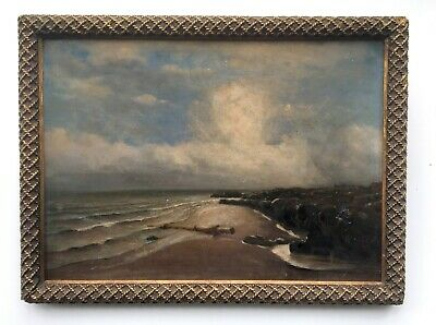 Signed M.S. Original 19th Century Framed Oil Painting Evening Seascape - Damaged