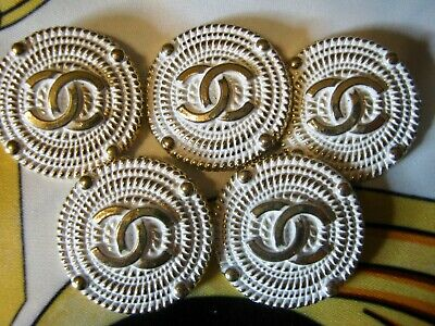 Chanel 5 white gold metal buttons  25mm lot of 5  GOLD CC