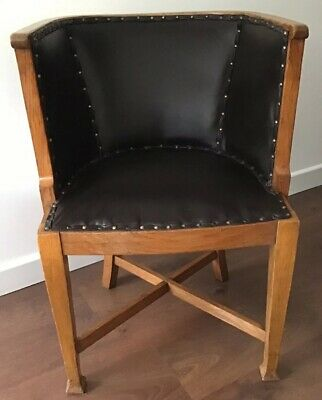 Rare, Arts & Crafts, Oak And Studded Dark Brown Faux Leather Bentwood Chair.