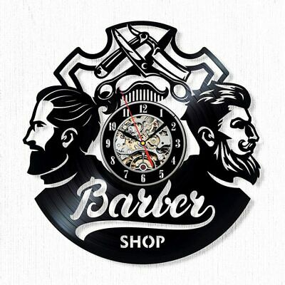 Barber Shop Wall Clock Hairdresser Barbershop Vinyl Record Barber Salon Clocks
