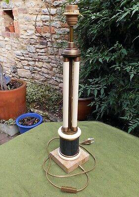 Stylish French Art Deco Metal & Brass Table Or Desk Lamp, Marble Base, Working