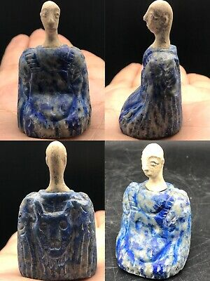 Unique Bactria Beautiful Old Rare Lapis lazuli Stone Seated Statue