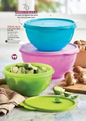 Tupperware Wonderlier 3 Pc Bowl Nesting Set 12 8 6 Cup Purple Green Turquiose