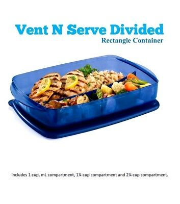 Tupperware® Vent 'N Serve® Rectangular Divided Microwave Dish Blue Lunch Freeze