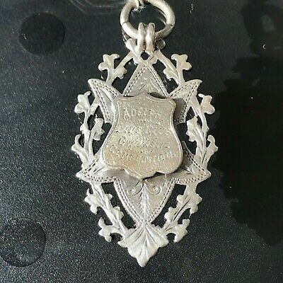 Antique Victorian Sterling Silver Double Sided  Watch Fob Awards Medal 1897