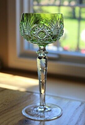 Bohemian or French Chartreuse light green Cut Glass Crystal WINE HOCK GOBLET