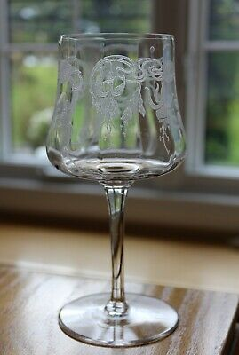 CAMBRIDGE GLASS 1920s MARJORIE OPTIC FLORAL ETCHED FUCHSIA WATER WINE GOBLET