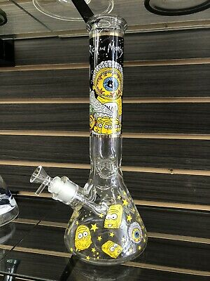 """14"""" Rick And Morty Heavy Glass Beaker Style Waterpipe With 14mm Bowl"""