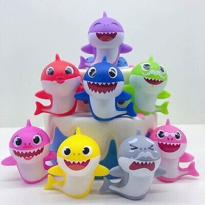 8/10Pcs Figures Baby Shark Toy Supplies Cartoon Cake Decoration Gift Accessories
