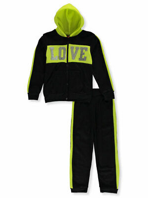 Girls Luv Pink Girls' Trimmed Sequin Love 2-Piece Sweatsuit Pants Set