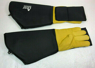 Aces Animal Care Handling Gloves Long Arm Leather Dog Cat Bird Reptile