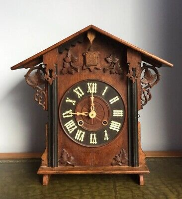 Antique 19th Century Black Forrest Fusee Chiming Cuckoo Bracket Clock