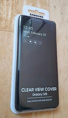 Official Samsung Galaxy S10 Clear View Cover - Black Ef-Zg973Cbegww Brand New