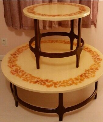 Mid Century Glamourama Sparkle Resin And Wood Matching Tables Excellent Conditio