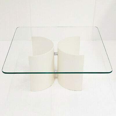 Coffee Table Vintage 1970 Wooden Lacquer White Chrome Glass per Poltronova Italy