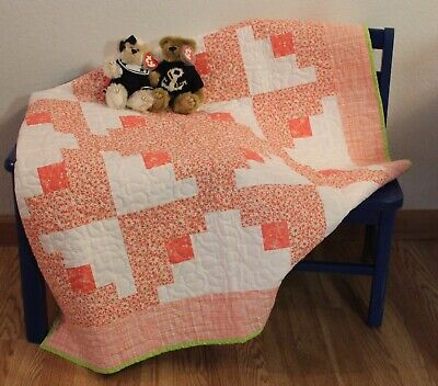 Handmade, baby, toddler, quilt, blanket, peach, quilted, gift, homemade