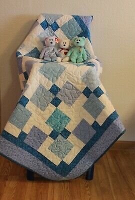 Handmade, baby, toddler, quilt, blanket, blue, aqua, quilted, gift, homemade