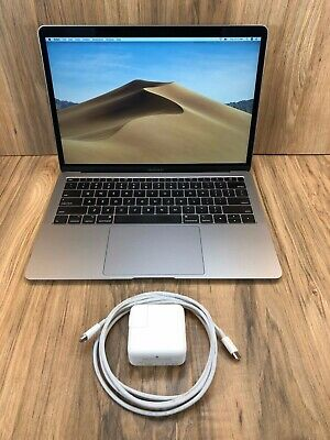 """Apple MACBOOK AIR 2018 Space Gray 13"""" Touch ID 128GB SSD 8GB RAM 1.6GHZ Tested"""
