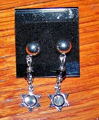 New! Stunning Silver Plated Star Burst Charm with Light Gray Bead Post Earrings