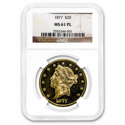 1877 $20 Liberty Gold Double Eagle MS-61 NGC (PL) - SKU#169942