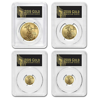 2019 4-Coin Gold Eagle Set MS-70 PCGS (First Day, Black Label) - SKU#177809