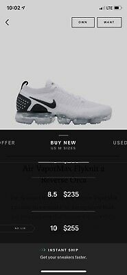 """Nike Air Vapormax Flyknit 2 """"Reverse Orca"""" Mens SZ 9  Used 1x Perfect Off White"""