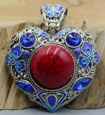 Collectable China Handwork Miao Silver Mosaic Noble Red Agate Beautiful Pendant