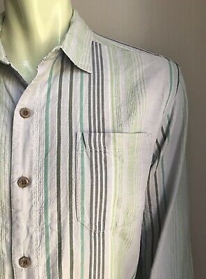 Tommy Bahama Shirt, Allendale Stripes, XL, Silk-Cotton, Exc Cond