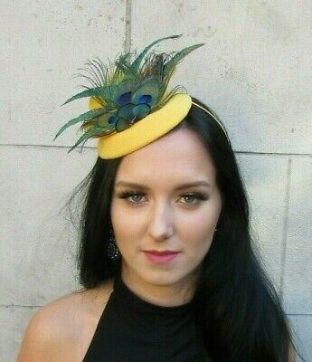 Mustard Yellow Green Peacock Feather Hat Fascinator Races Wedding Headpiece 7668