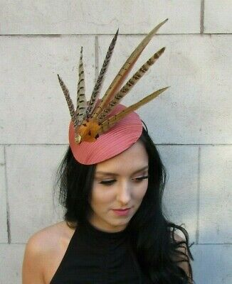 Large Rust Gold Tan Brown Pheasant Feather Hat Fascinator Headband Races 7669