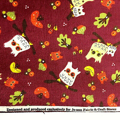 "Cotton Jo-Ann Fabric Owl Print-Sewing-Quilt-Crafts Fennal Two 2 yards - 42"" W"