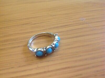 A Lovely small Ladies Silver-Toned '4-Stone Ring' Beach Detector 'Find' Size M.