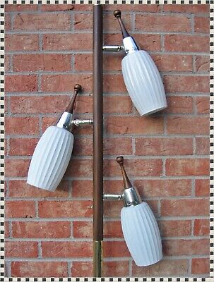 Vintage Mid Century Tension Floor Pole Lamp White Ribbed Glass Shades 3 Lights