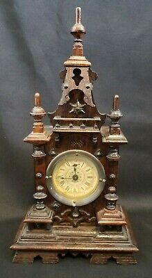 Antique Carved Mantel Table Clock Wood Unique!!