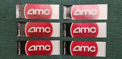 (6) Six AMC Black movie tickets. No expiration! Ships as soon as you pay.
