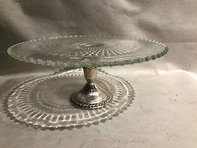 Vintage Duchin Sterling Silver Pedestal Pressed Glass Cake Plate Candlewick Edge