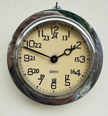 Vintage 1930s Gents of Leicester wall clock chrome and steel rare model